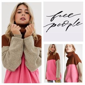 Free People Softly Structured Color-Blocked.  NWT.